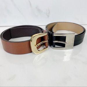 Michael Kors Bundle Lot 2 Belts Black Brown Medium